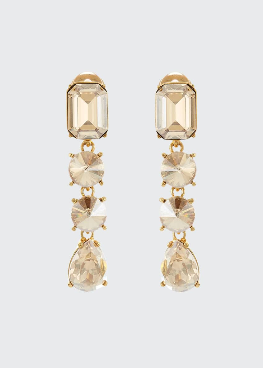Image 1 of 1: Classic Large Crystal Clip Earrings
