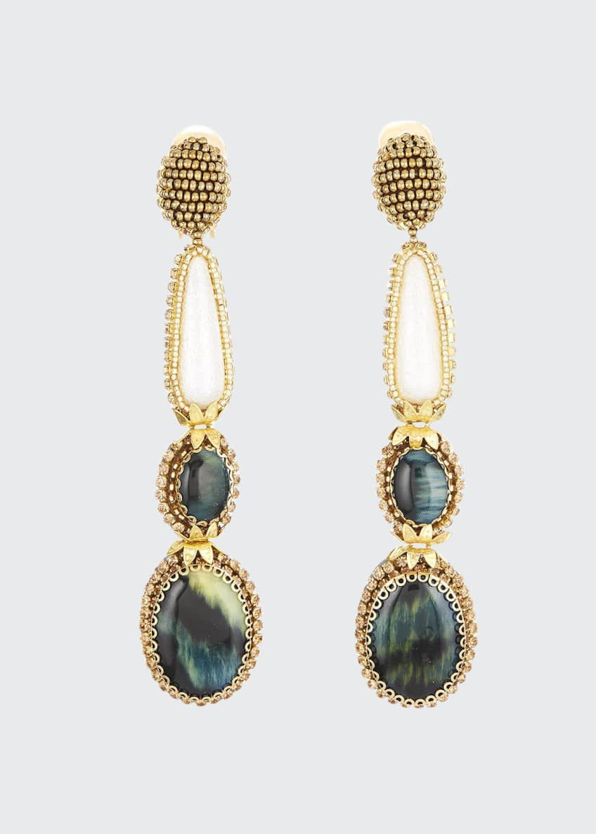 Oscar de la Renta Embellished Tiered Clip Earrings