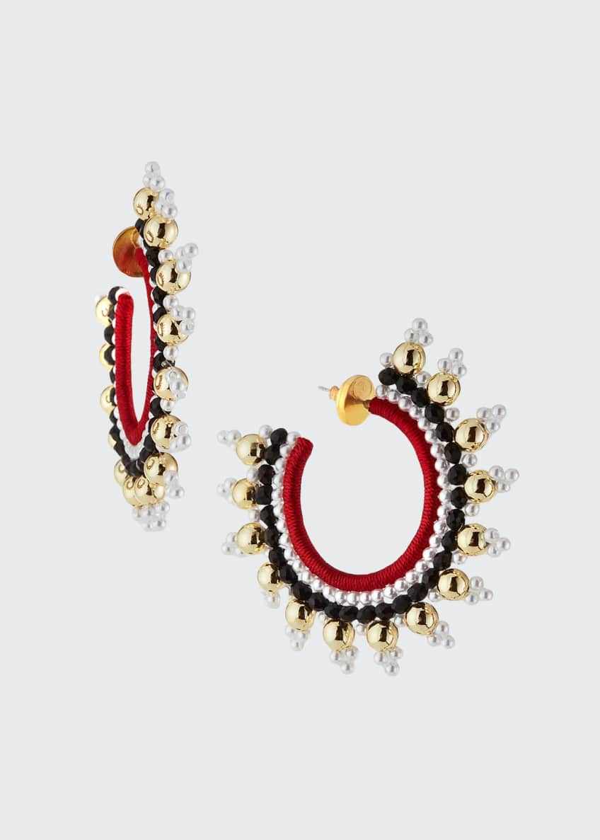 Image 1 of 2: Small Embellished Hoop Earrings