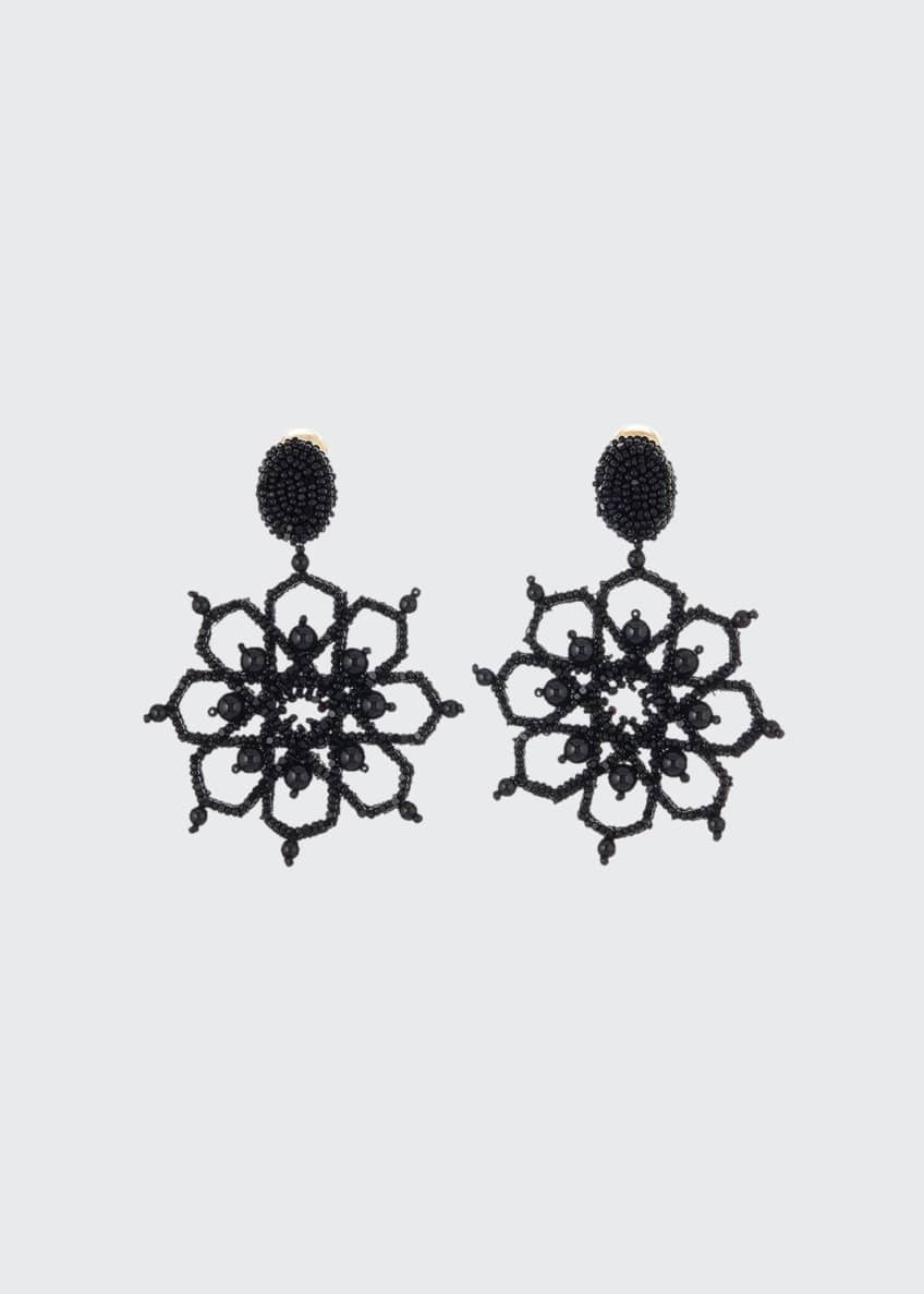 Oscar de la Renta Crystal Flower-Outline Clip Earrings