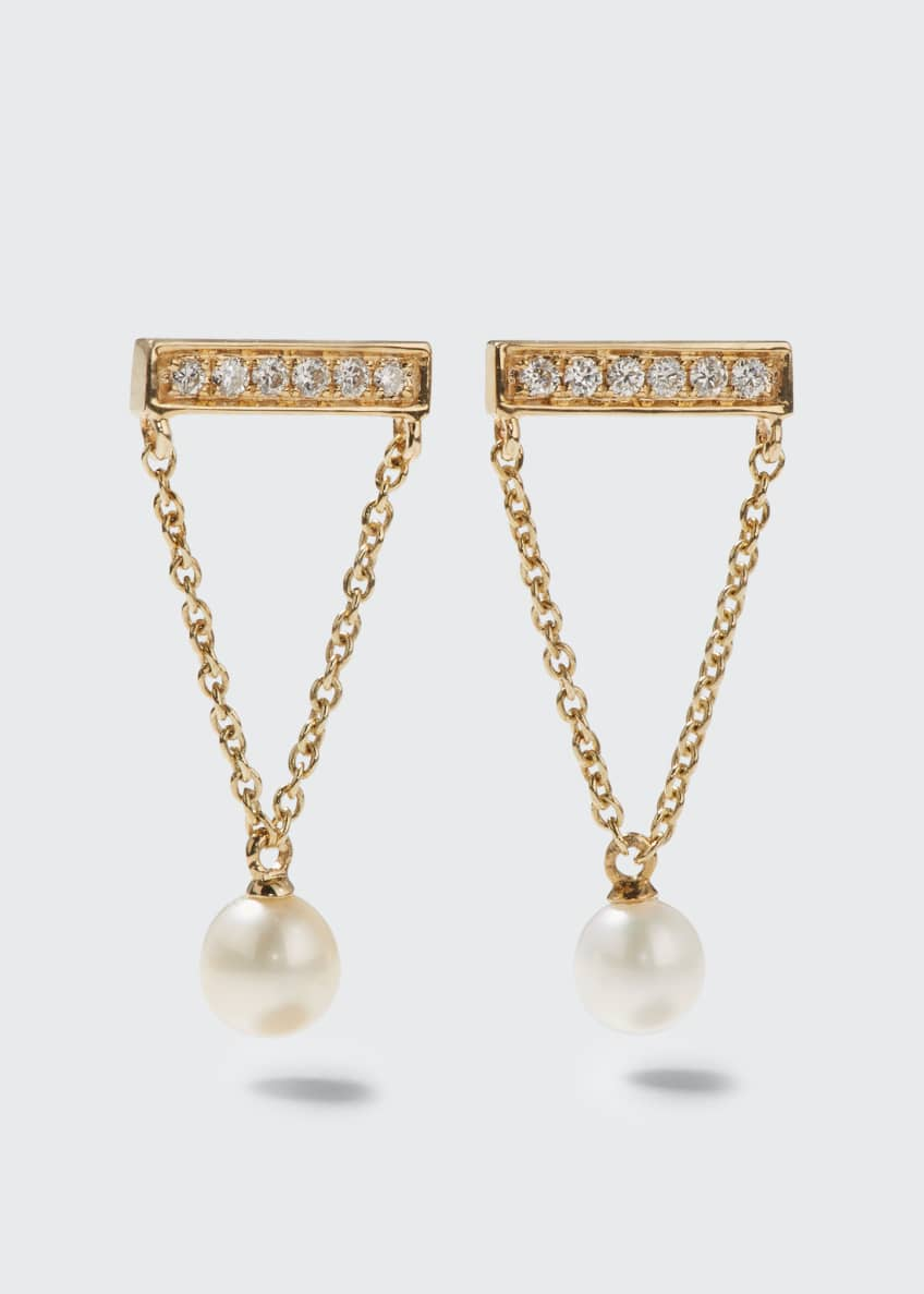 Sydney Evan 14k Diamond Bar & Pearl Earrings