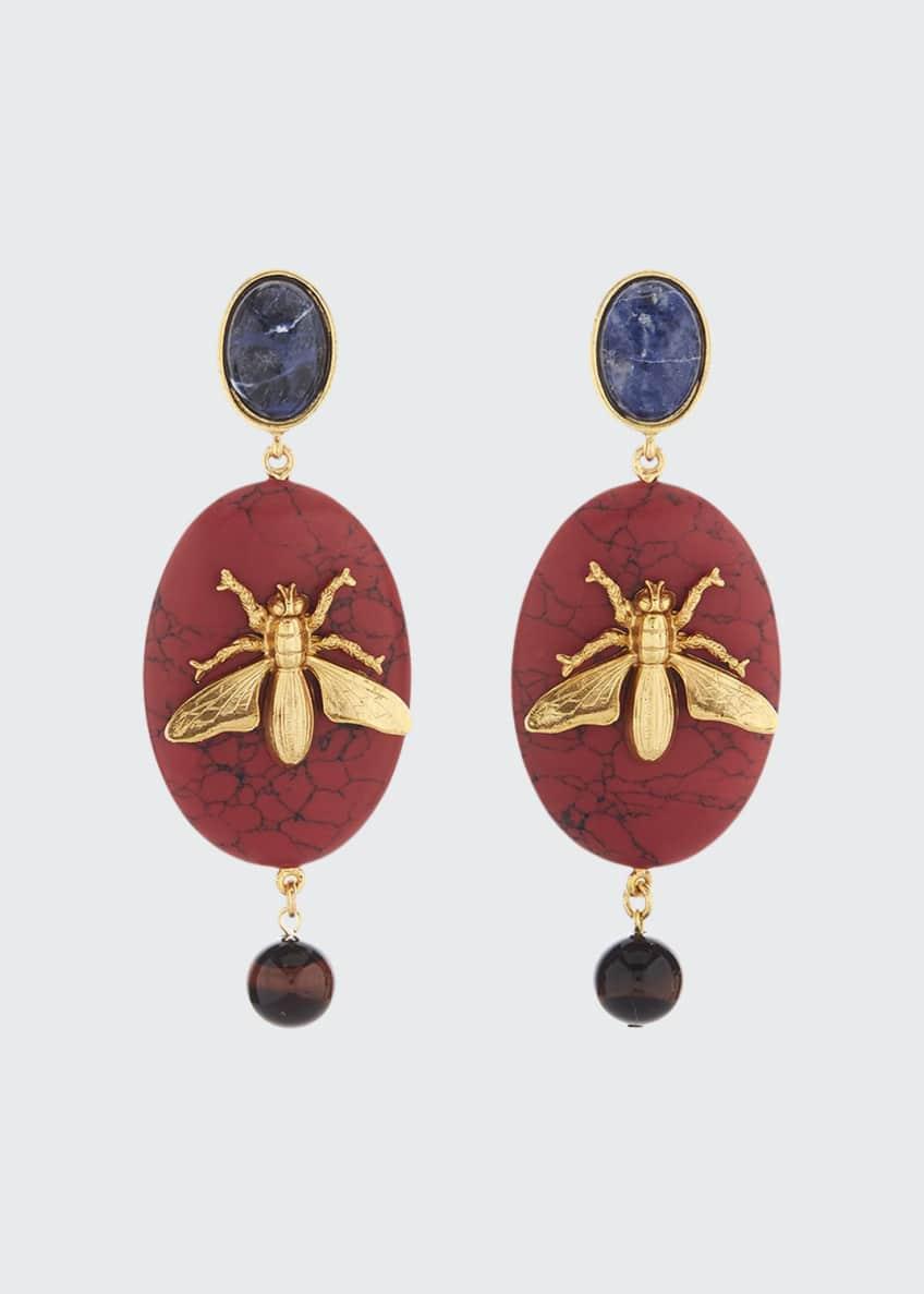 Oscar de la Renta Oval Fly-Stone Clip Earrings