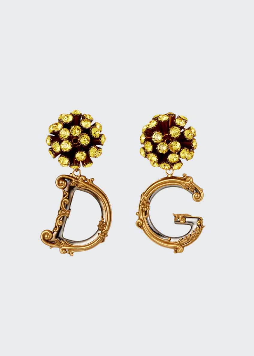 Dolce & Gabbana Sunflower DG Drop Earrings