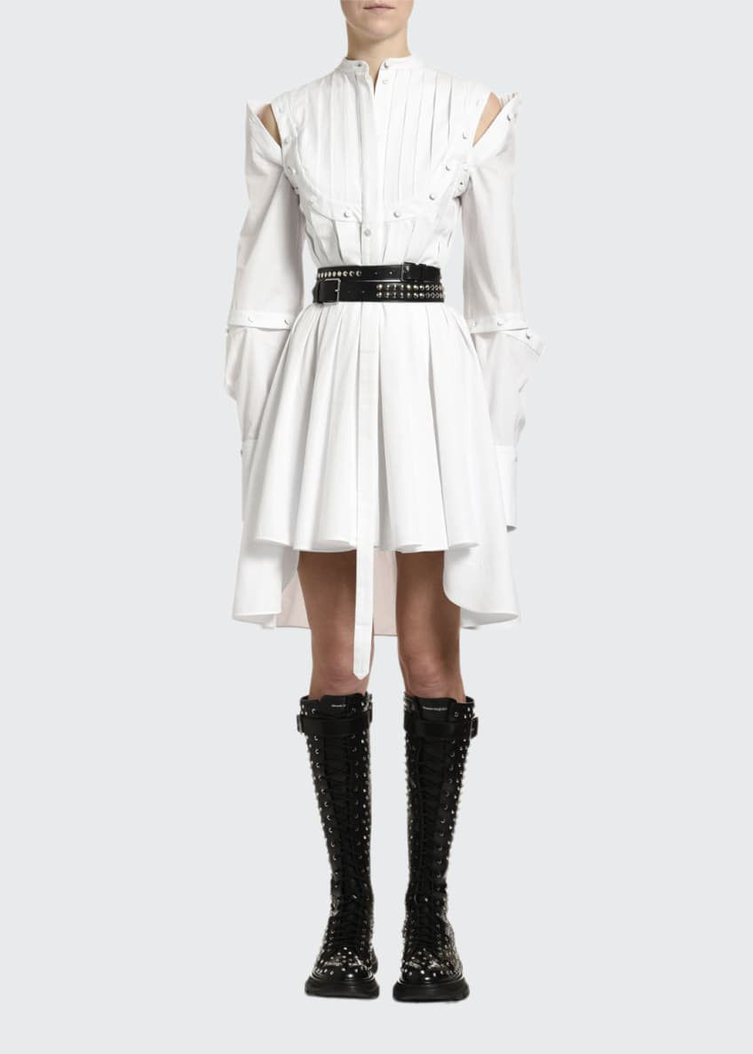 Alexander McQueen Blurred-Rose Jacquard A-Line Cocktail Dress &