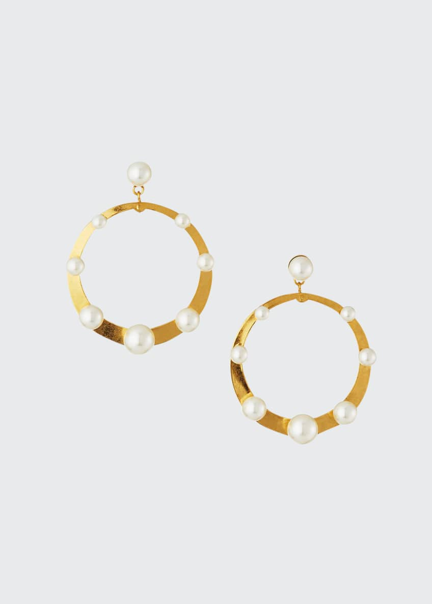 Jennifer Behr Pescale Pearly Hoop-Drop Earrings