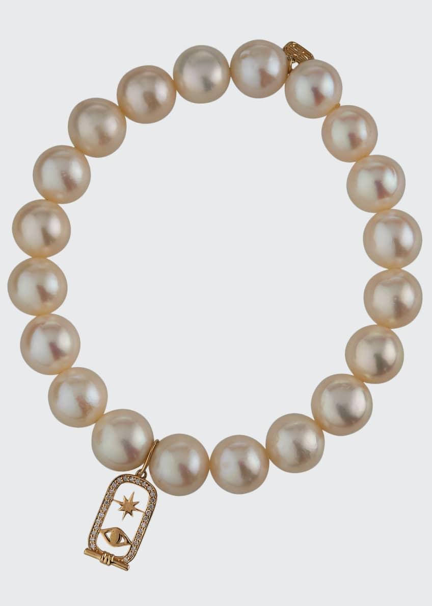 Sydney Evan 14k Diamond Cartouche & Pearl Bracelet