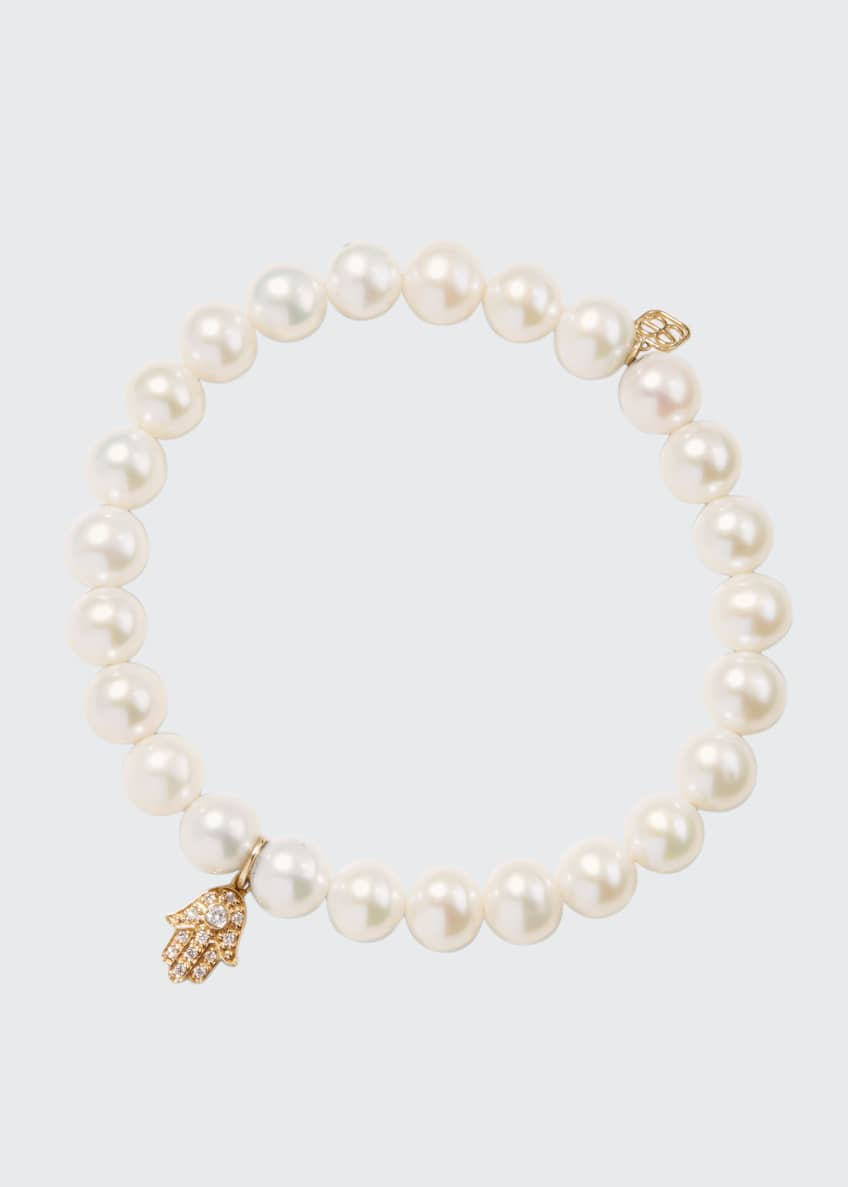 Image 1 of 2: 14k Diamond Hamsa & Pearl Bracelet