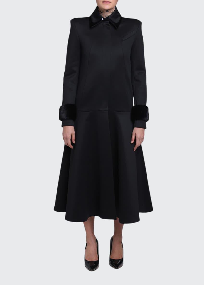 Fendi Mink-Cuff Compact Jersey Coat & Matching Items