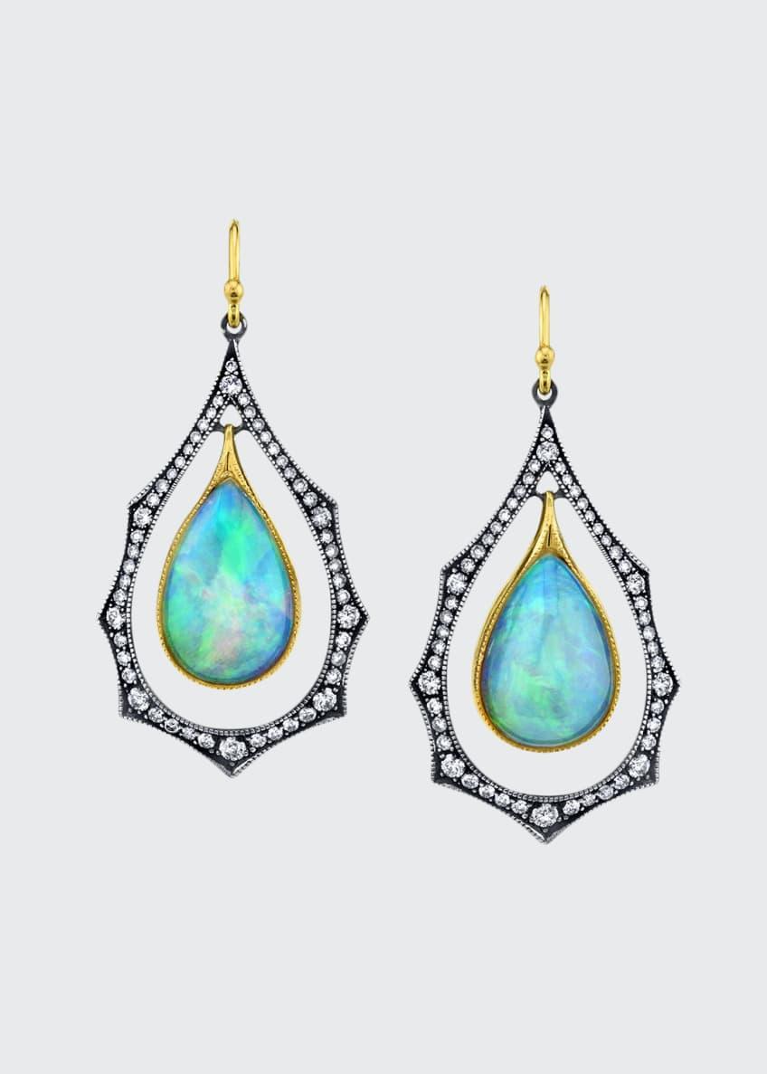 Arman Sarkisyan Diamond-Frame Opal Drop Earrings