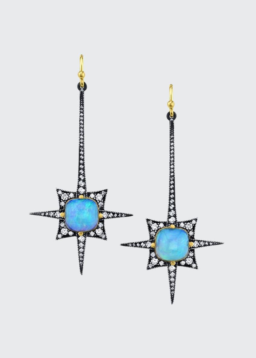 Arman Sarkisyan Long Opal Diamond Spike Earrings