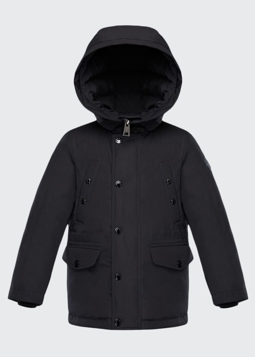 Moncler Salagou Logo-Back Hooded Jacket, Size 4-6