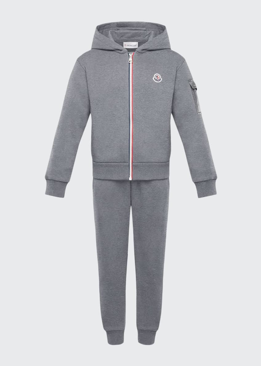Moncler Tricolor-Zip Hoodie w/ Matching Sweatpants, Size 4-6