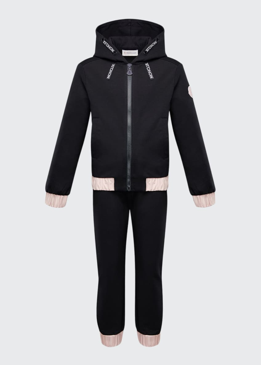 Moncler Contrast-Trim Hoodie w/ Matching Sweatpants, Size 4-6