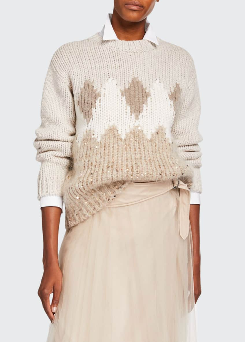 Brunello Cucinelli Fair Isle Sequined Wool-Cashmere Sweater &