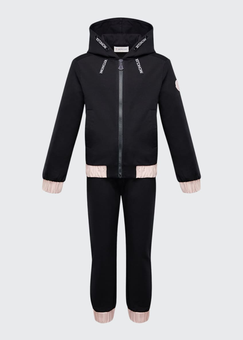 Image 1 of 2: Contrast-Trim Hoodie w/ Matching Sweatpants, Size 8-14