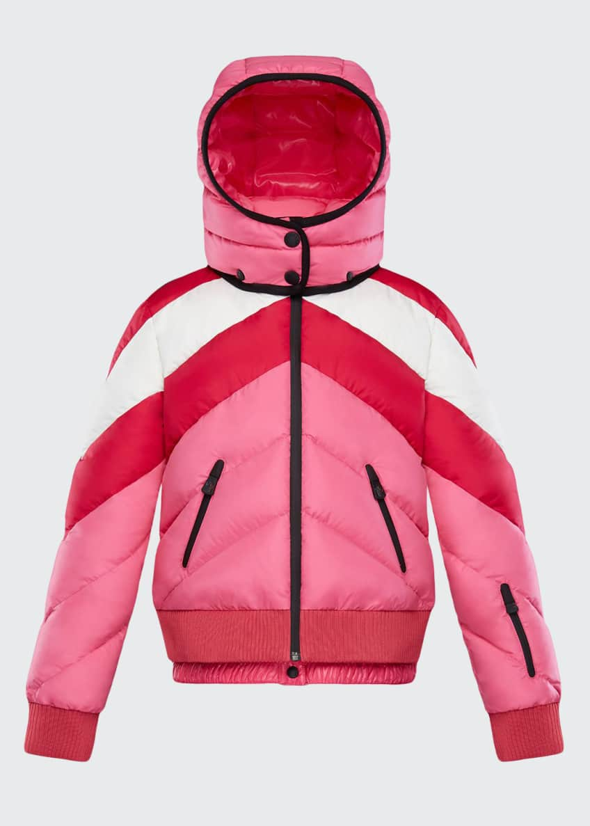 Moncler Charix Detachable-Hood Colorblock Puffer Coat, Size 8-14