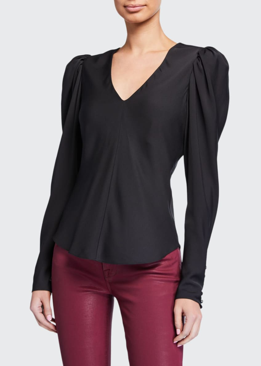 FRAME Shirred Puff-Sleeve V-Neck Top & Matching Items