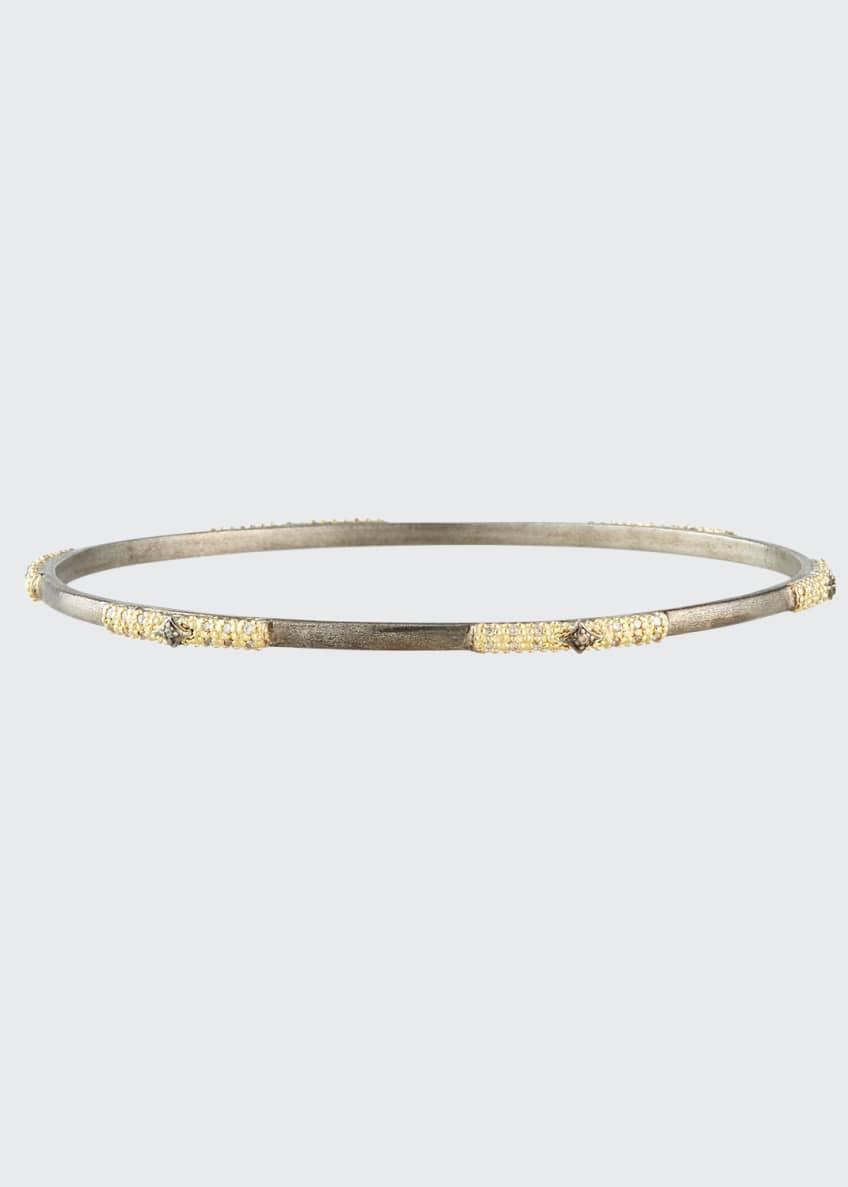 Image 1 of 2: Old World 2-Tone Champagne Diamond Bangle