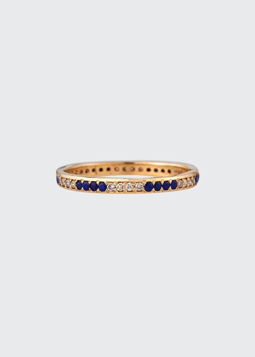 Image 1 of 2: 18k Rose Gold Lapis & Champagne Diamond Stack Ring, Size 6.5