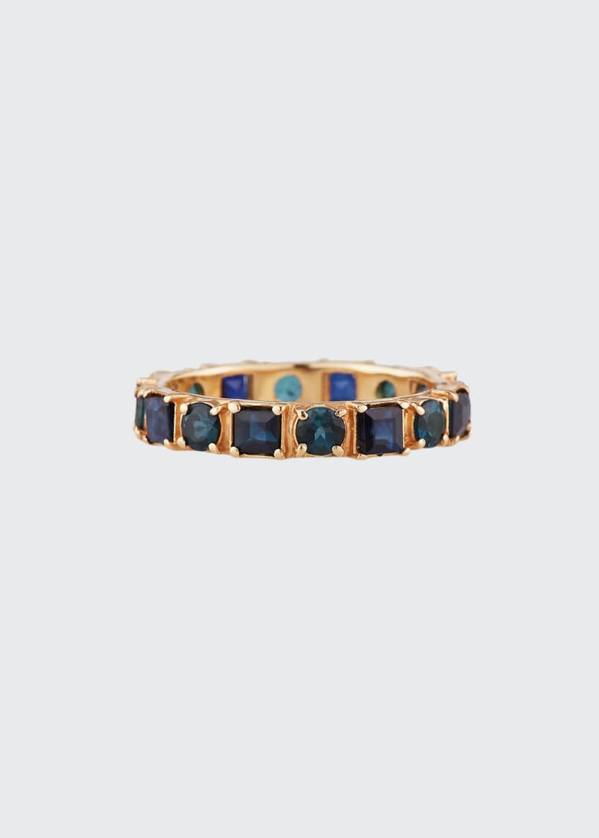 Image 1 of 2: 18k Rose Gold Blue Sapphire & Tourmaline Ring, Size 6.5
