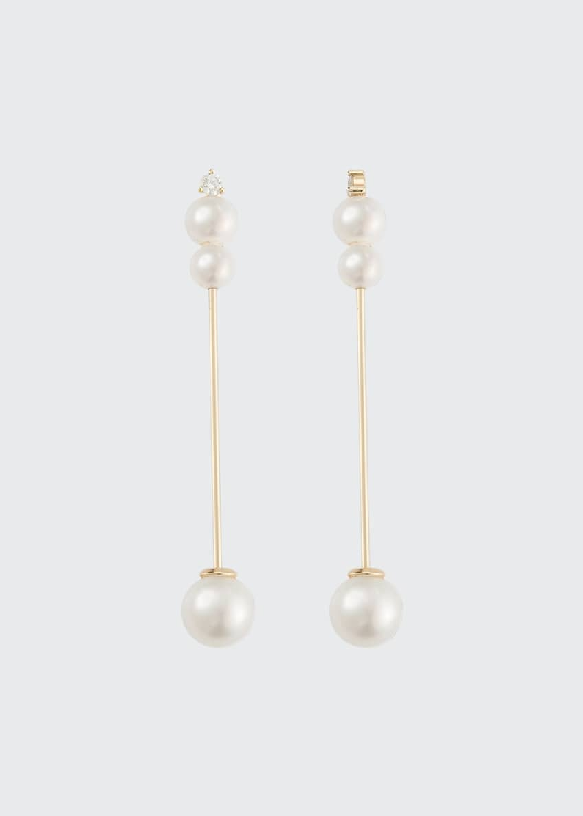 Image 1 of 1: 14k Medium Pearl & Diamond Stick Earrings