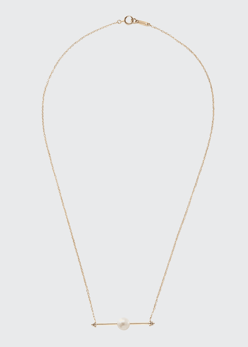 Mizuki 14k Floating Pearl-Bar Necklace