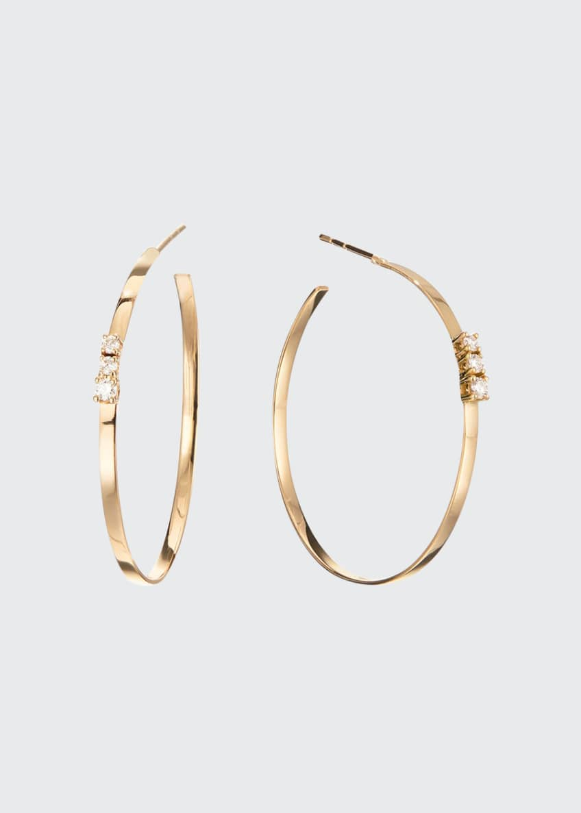 LANA 14k Flat Multi Solo Diamond Hoop Earrings