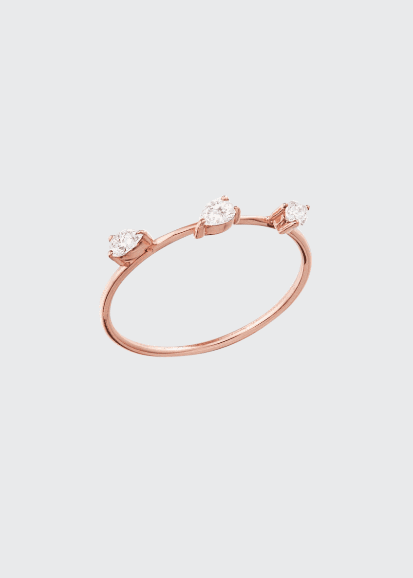 LANA 14k Solo Diamond Pear Wire Ring, Size