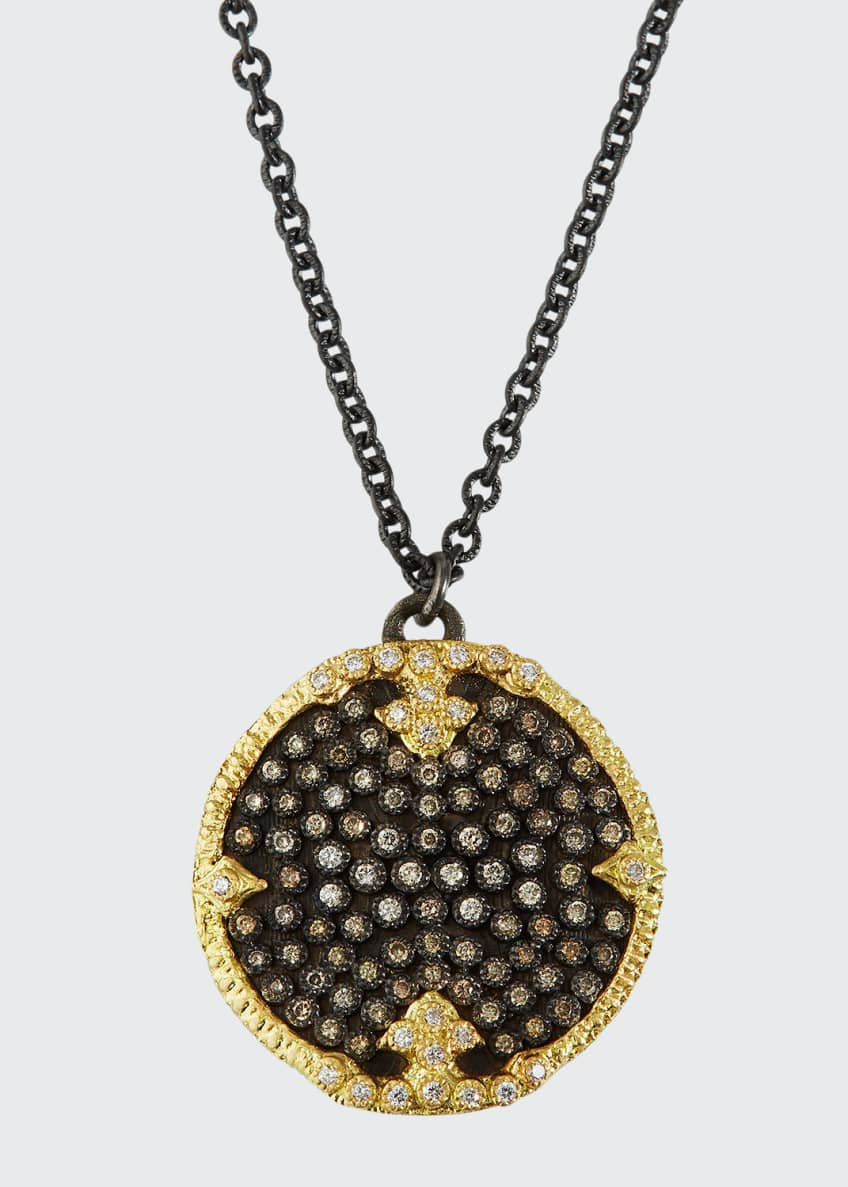 Image 1 of 1: Old World Diamond Pave Disc Pendant Necklace