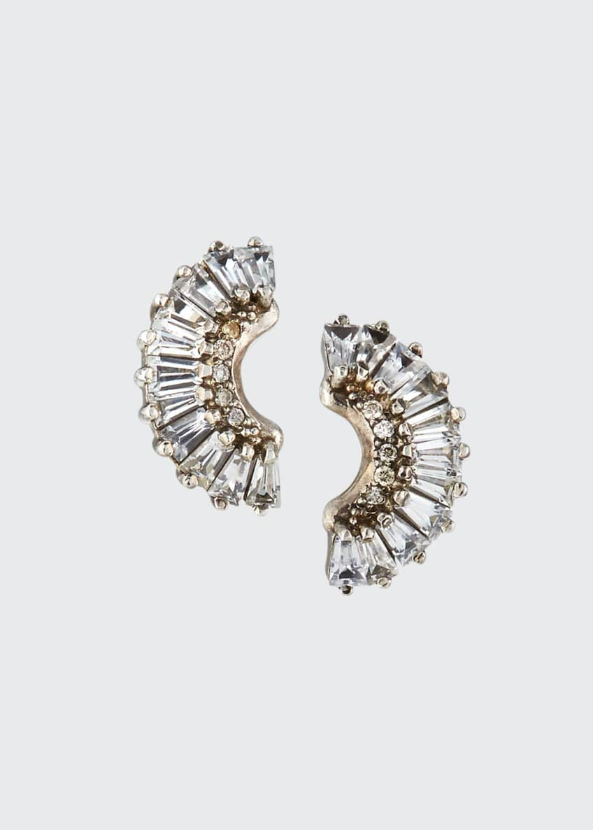 Image 1 of 2: Old World Half-Moon Sapphire Earrings w/ Diamonds