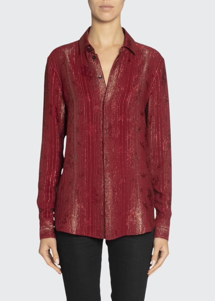 Saint Laurent Metallic-Striped Silk Oversized Shirt & Matching