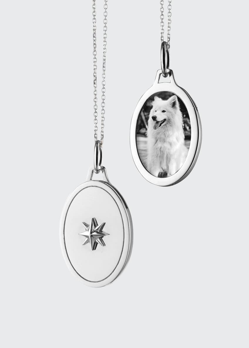 Image 1 of 1: Oval Star Half Locket Necklace