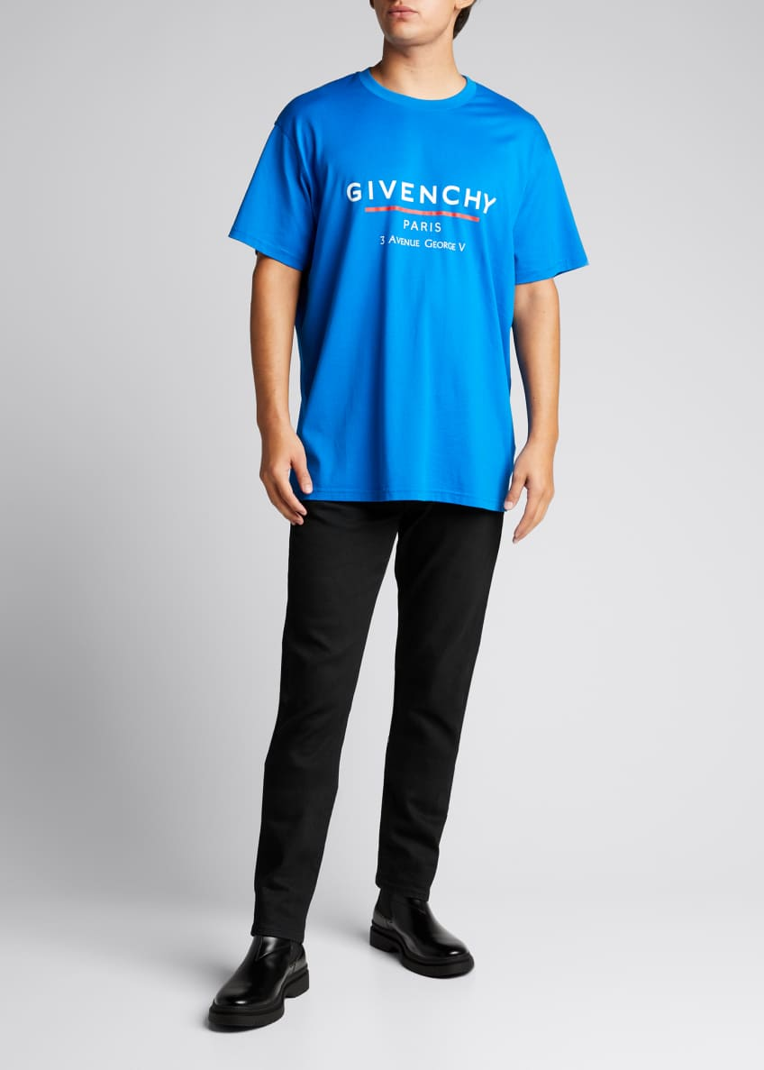 Givenchy Men's Skinny Cropped Trousers with Satin Waistband