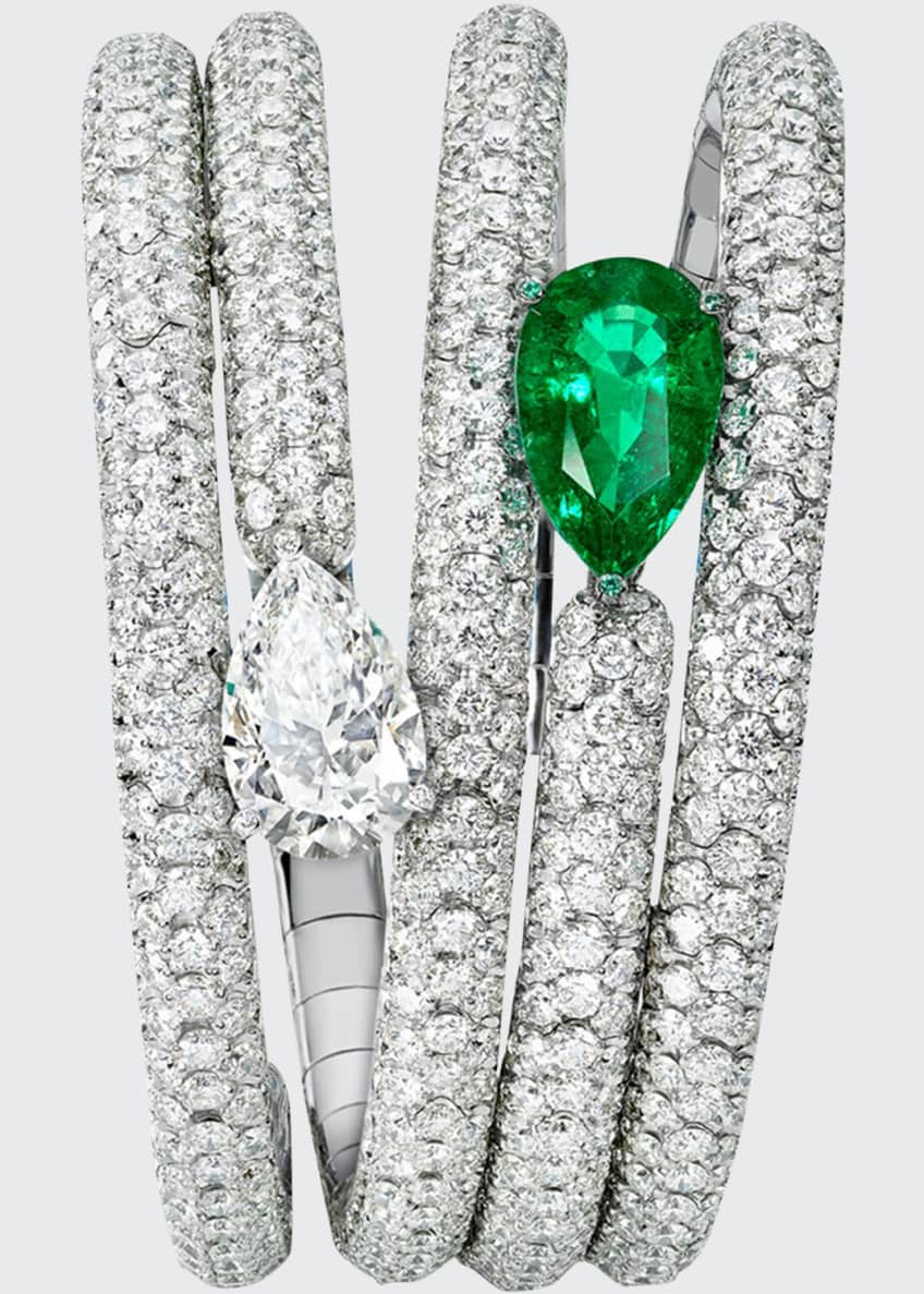 De Grisogono One-of-a-Kind Pear Diamond & Emerald Bracelet