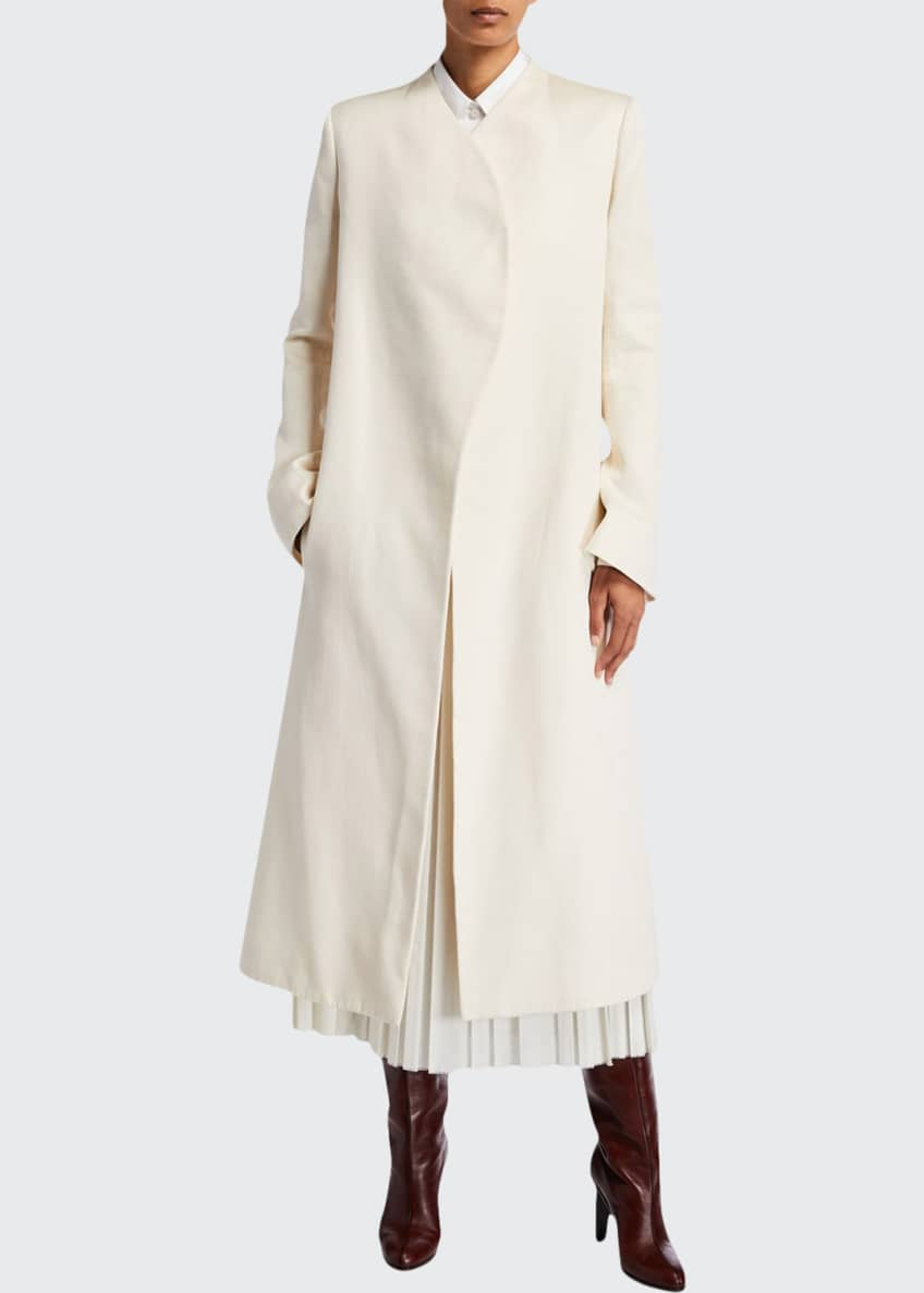 THE ROW Marion Wrapped Cotton Coat & Matching
