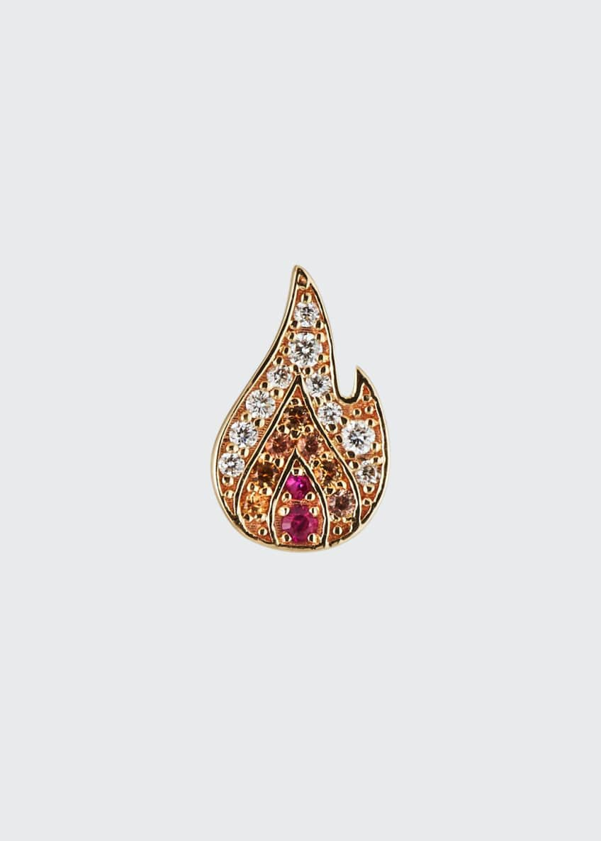 Image 1 of 2: 14k Small Pave Flame Stud Earring, Single, Left