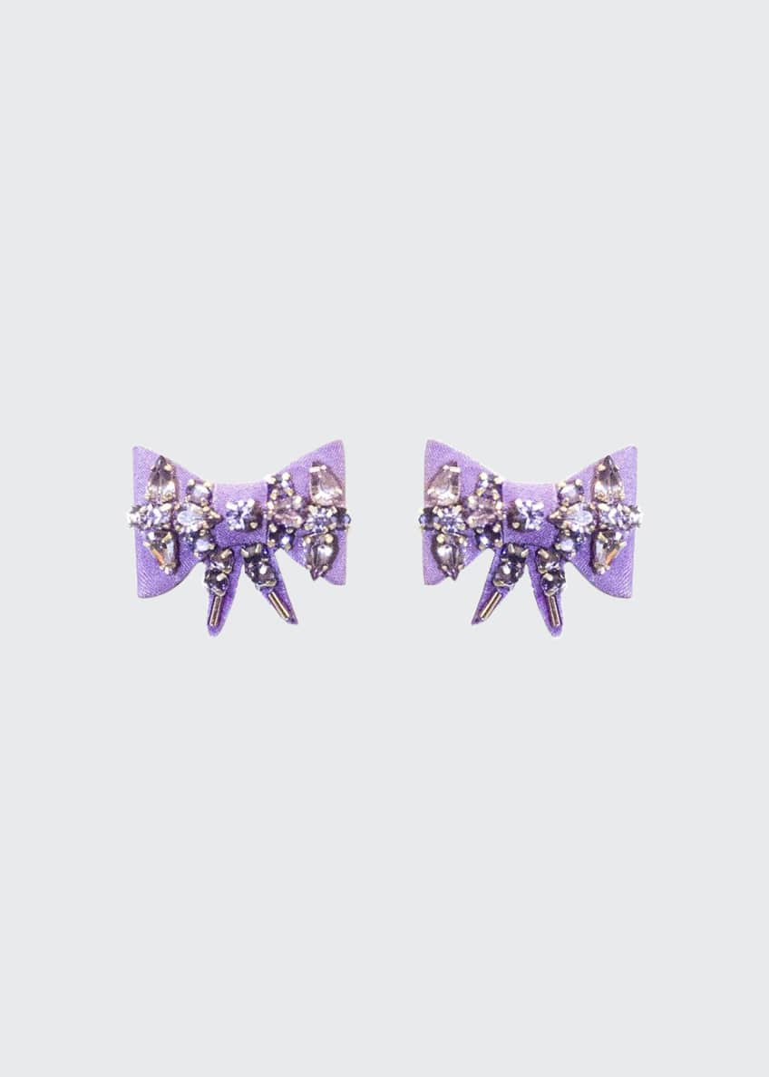 Image 1 of 1: Lexy Velvet Bow Stud Earrings
