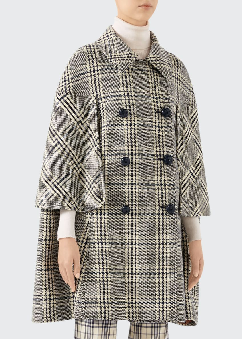 Gucci Checked Wool Cape Coat & Matching Items