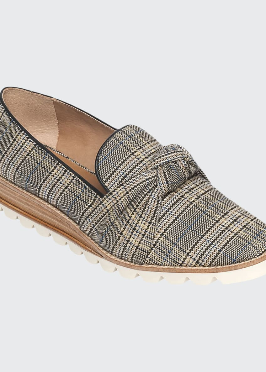 Bernardo Jansen Knotted Plaid Loafers