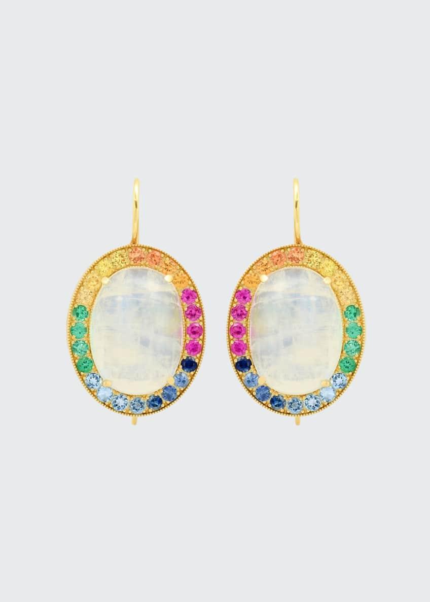 Andrea Fohrman 18k Rainbow Moonstone Oval Earrings