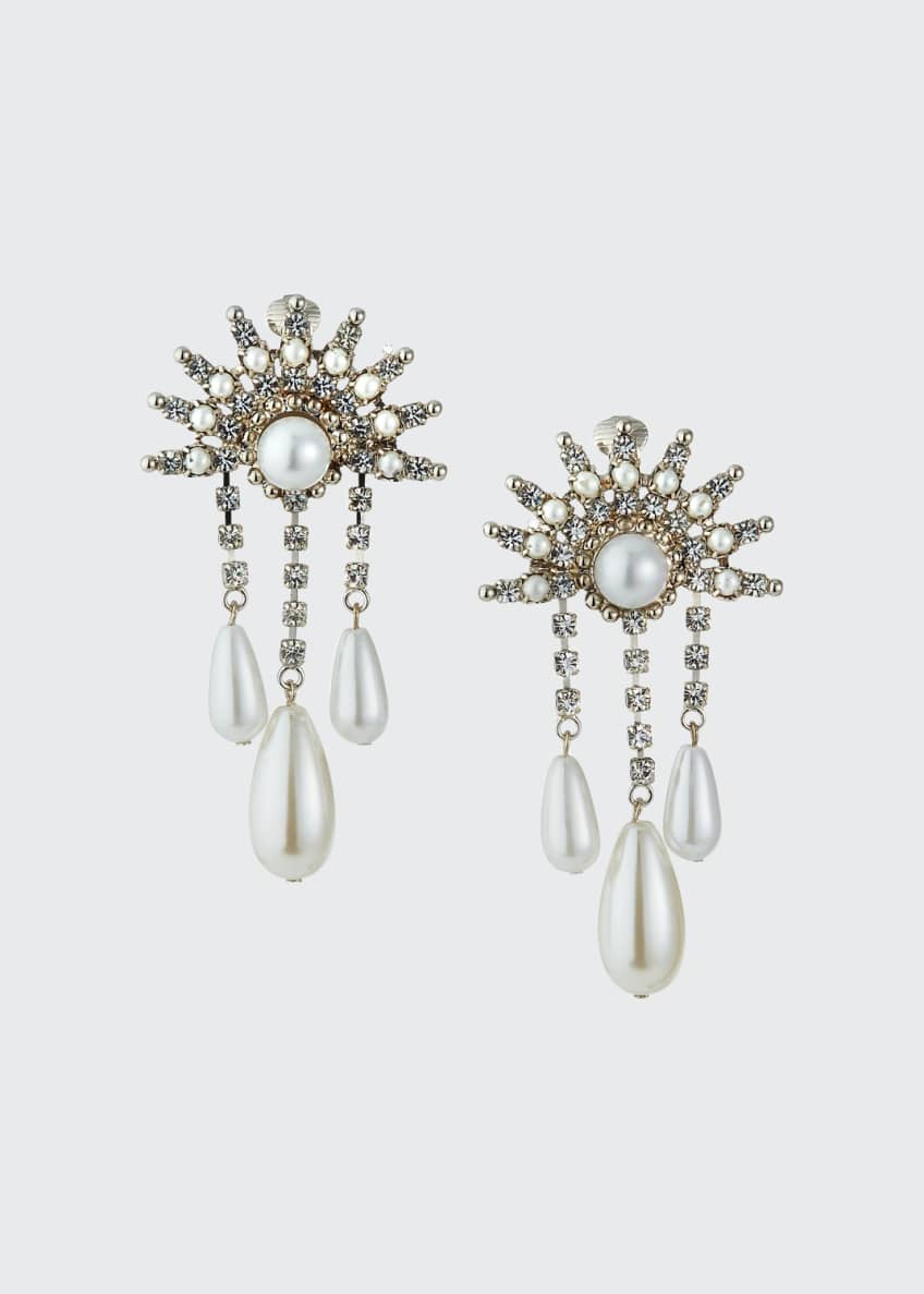 Image 1 of 1: Crystal 3-Dangle Clip Earrings