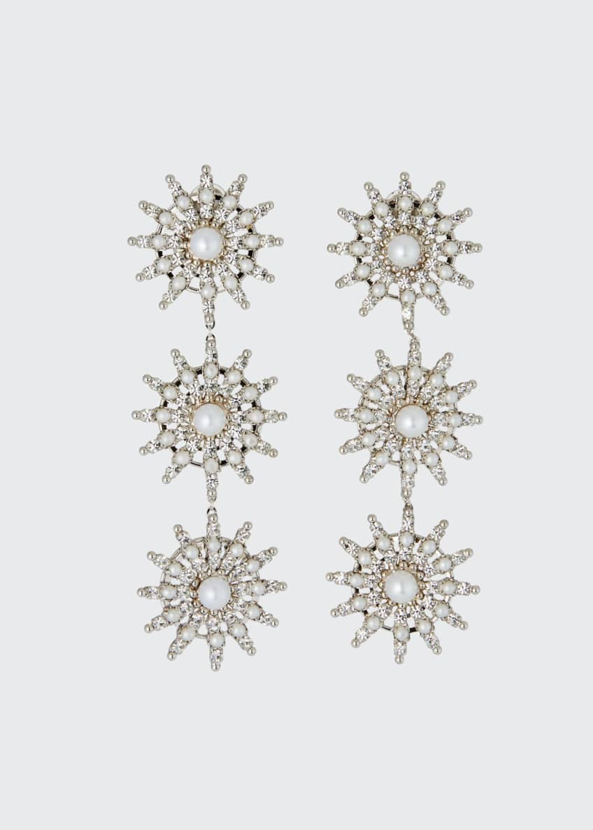 Image 1 of 2: Pearly Crystal-Spike Linear Clip Earrings
