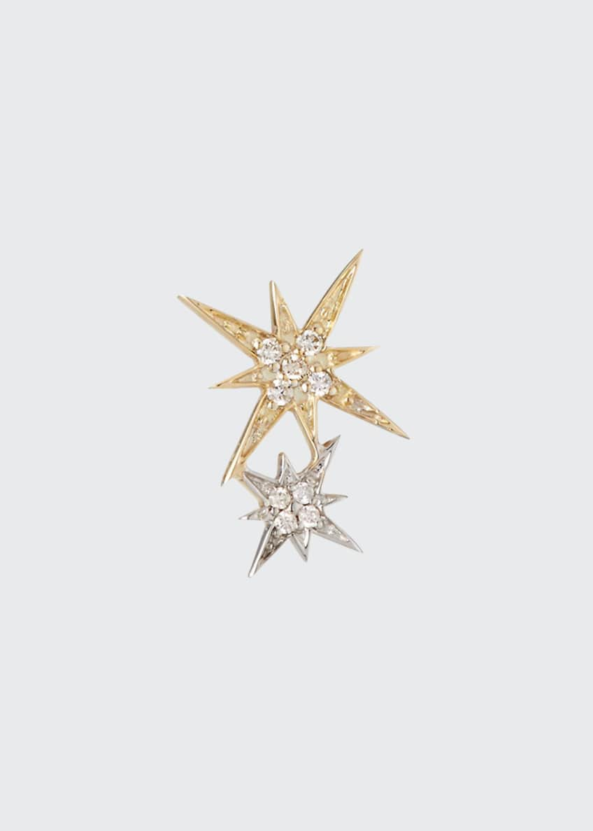 14k Yellow and White Gold Diamond Starburst Earring, Single