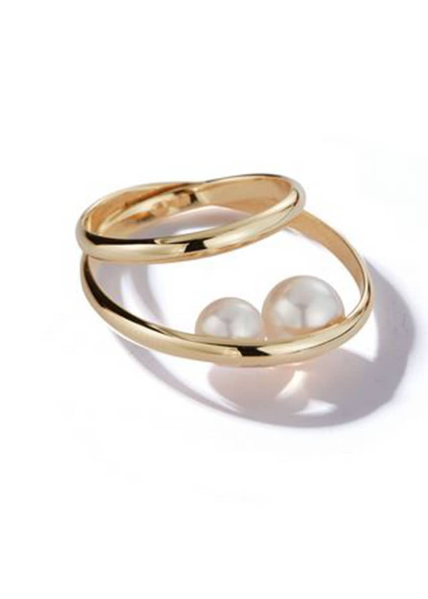 Image 1 of 1: 14k Gold 2-Band Pearl Ring