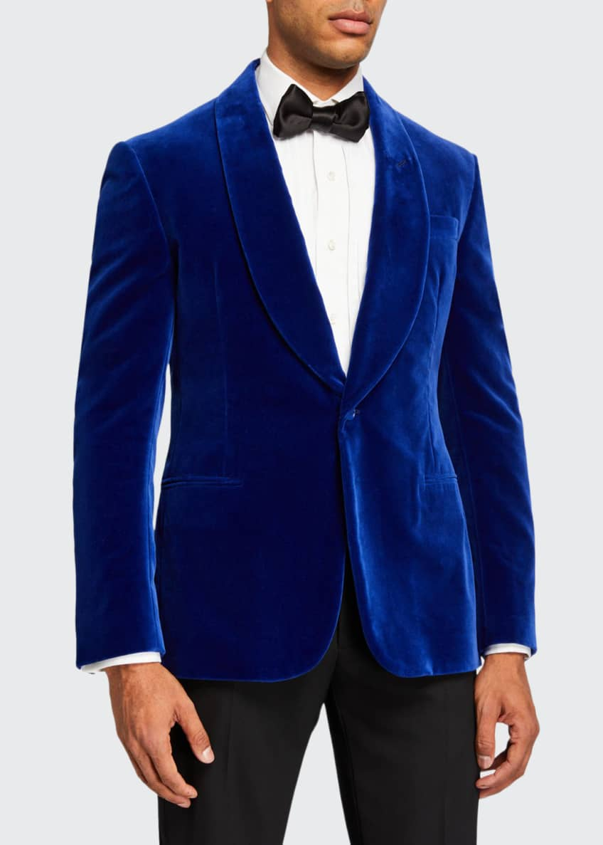 Image 1 of 3: Men's Solid Velvet Dinner Jacket, Blue