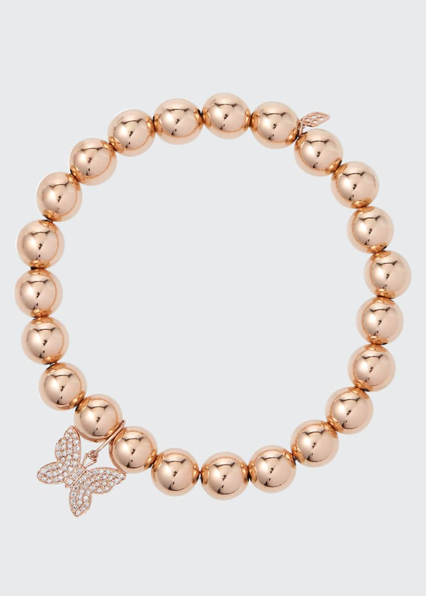 Image 1 of 1: 14k Rose Gold Diamond Butterfly Bead Bracelet