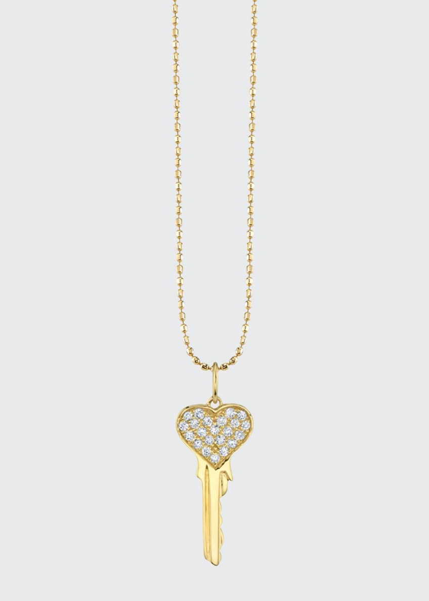Image 1 of 1: 14k Yellow Gold Diamond Heart Key Necklace