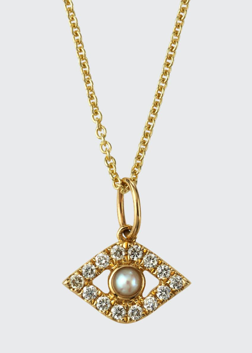 Image 1 of 2: 14k Diamond Evil Eye and Pearl Necklace