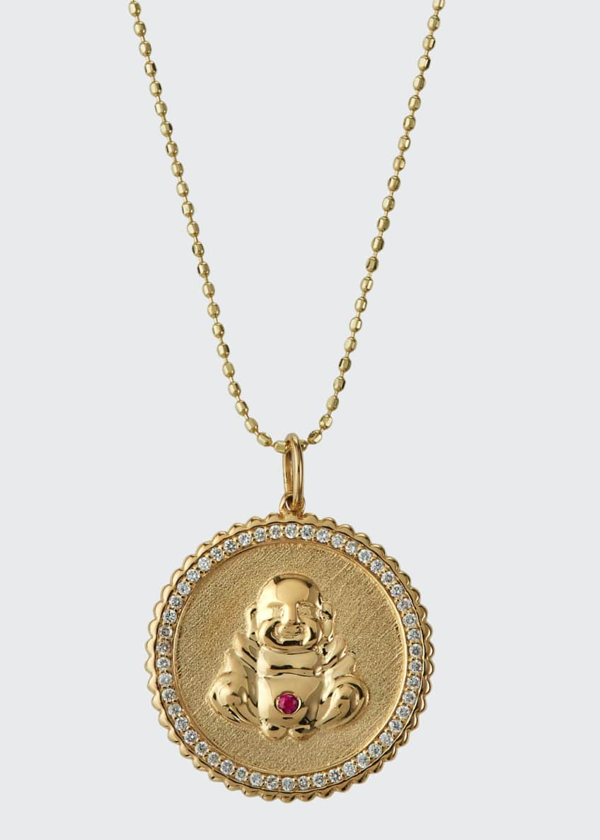 Image 1 of 3: 14k Buddha Coin Pendant Necklace with Diamonds