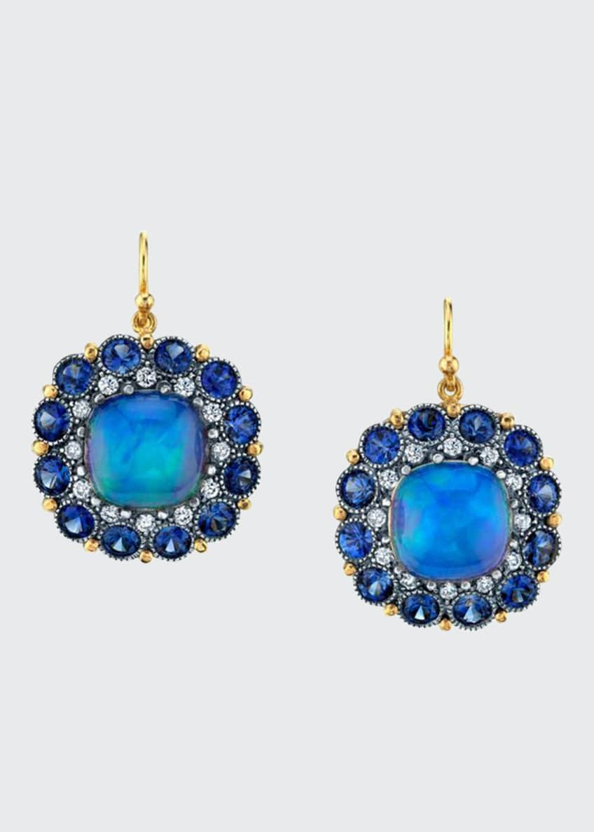 Image 1 of 1: Opal And Sapphire Earrings 2